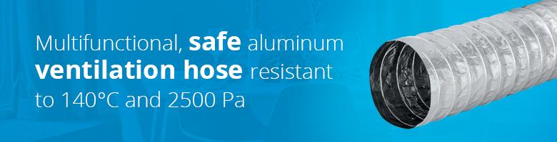 Flexible aluminium ventilation hoses are available in various sizes at Ventilationland