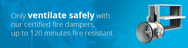 Certified fire dampers from Ventilationland are fire resistant for up to 120 minutes and have a fusible link of 72 degrees.