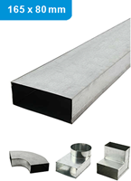 Galvanised flat ducts and fittings 165x80