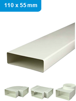 Ventilation ducts and fittings plastic 110x55