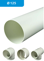 Ventilation tubes and fittings plastic Ø 125 mm
