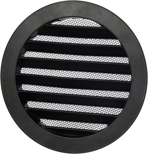 Outside air ventilation grilles aluminium - Ø 80mm- Black
