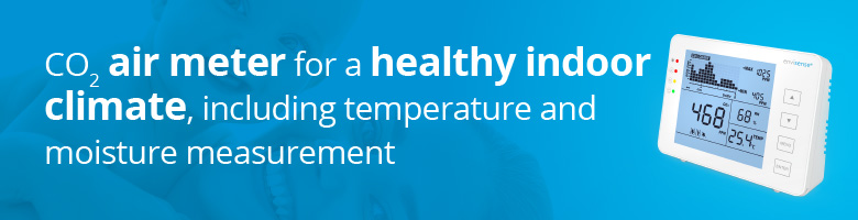 CO2 air meter for a healty indoor climate, including temperature and moisture measurement
