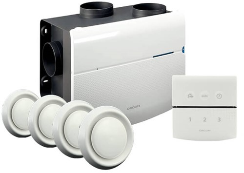 Orcon all-in-one package  MVS 15RHB 520m³/h + humidity sensor + RFT control + 4 valves