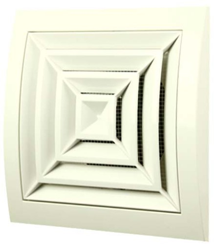 Ceiling diffuser square 150x150 diameter: 100 white - ND10G