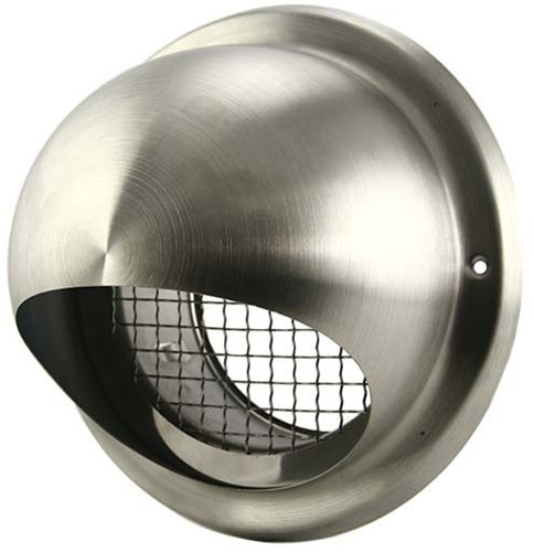 Stainless steel bull nose grille exterior wall duct high throughput Ø 125mm
