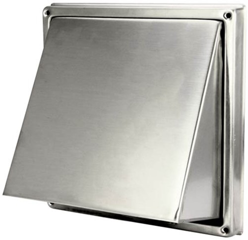Stainless steel wall cowl Ø 150 mm with angled cap and back draught shutter (high passage) - D5G150