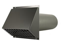 MVHR HR aluminium exterior wall duct Ø125mm black including duct